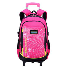 Kids Travel Trolley Backpack On wheels Girls Trolley School bags Children's Detachable cute Rolling Bag School Backpacks for Boy(China)