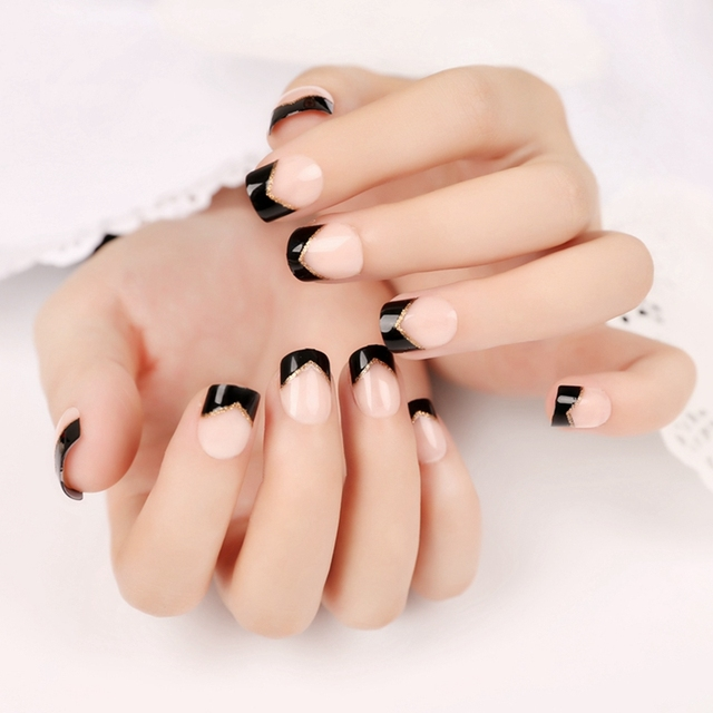 Nail art supplies products black angle french nails beige acrylic nail art supplies products black angle french nails beige acrylic fake nail tips 24pcs nail set prinsesfo Images