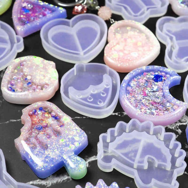 Kawaii Strawberry Shaker Silicone Cetakan Epoxy Resin Beruang Bintang Es Loli Shaker Gantungan Kunci Pesona Mengkilap Cetakan DIY Perhiasan Kerajinan Alat