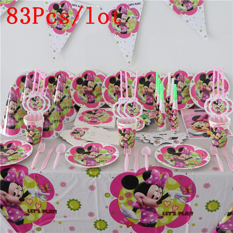 83Pcs/set Minnie Mouse Cartoon Theme Baby Birthday Party Decorations Kids Evnent Party Supplies Party Decoration-in Disposable Party Tableware from Home & Garden