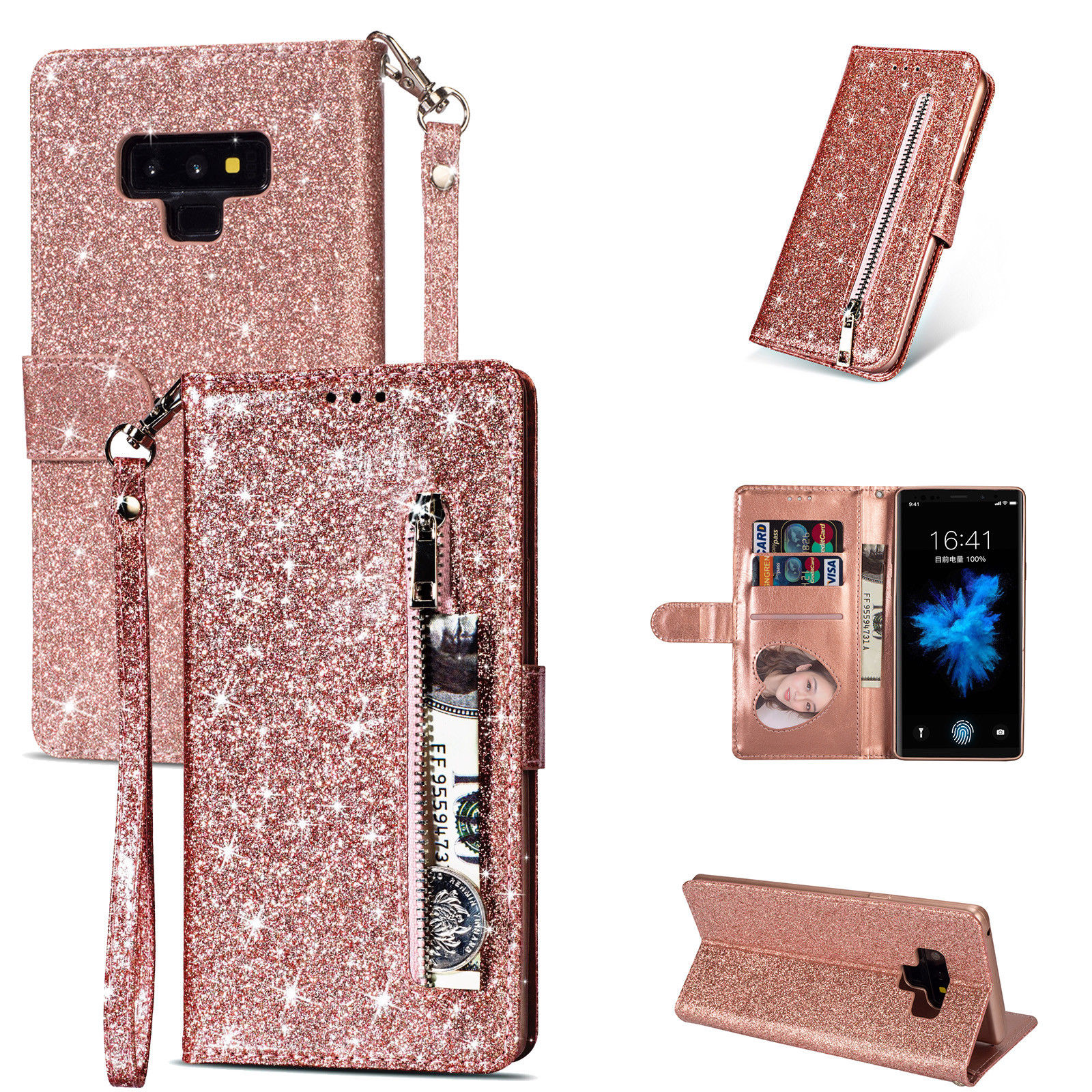 HTB13wvEdgaH3KVjSZFjq6AFWpXa7 Bling Glitter Case For Samsung Galaxy S10e Note 8 9 S10 Plus S9 S8 Plus S7 Edge S6 Leather Flip Stand Zipper Wallet Cover Coque