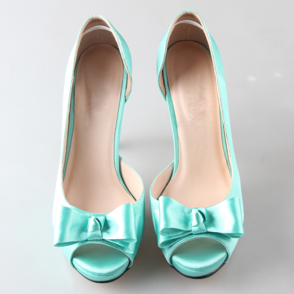 Creativesugar Handmade green mint blue D orsay bow shoes custom made pumps  bridal wedding party evening dress shoes peachy mint-in Women s Pumps from  Shoes ... 07b28a58b0a5
