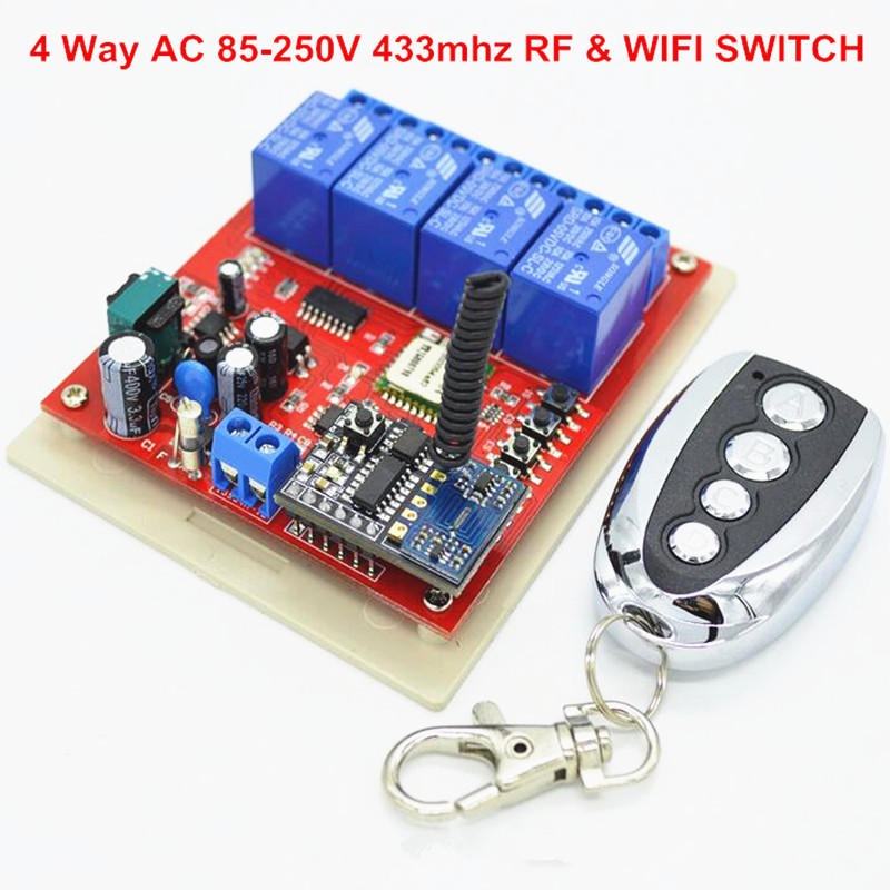 2017 New Light Switch Smart Wifi Interrupt 4 Way 110V 220V AC Input+ 433.92mhz RF Remote Control Switches For Home 2017 new digital remote control switch 220v wifi light schakelaar 4 way 110v 250v ac input 10a rf 433 92 mhz controler