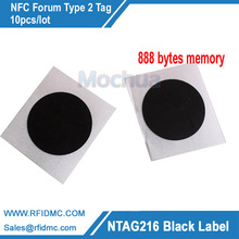 NTAG216 Label Black Color NFC tag with self adhesive 888 bytes memory 10pcs/lot