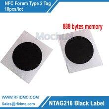 NTAG216 Label Schwarz Farbe NFC tag mit selbst adhesive 888 bytes memory 10pcs/lot