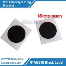 Ntag216 etiqueta preta cor nfc com auto adesivo 888 bytes memory 10pcs/lot