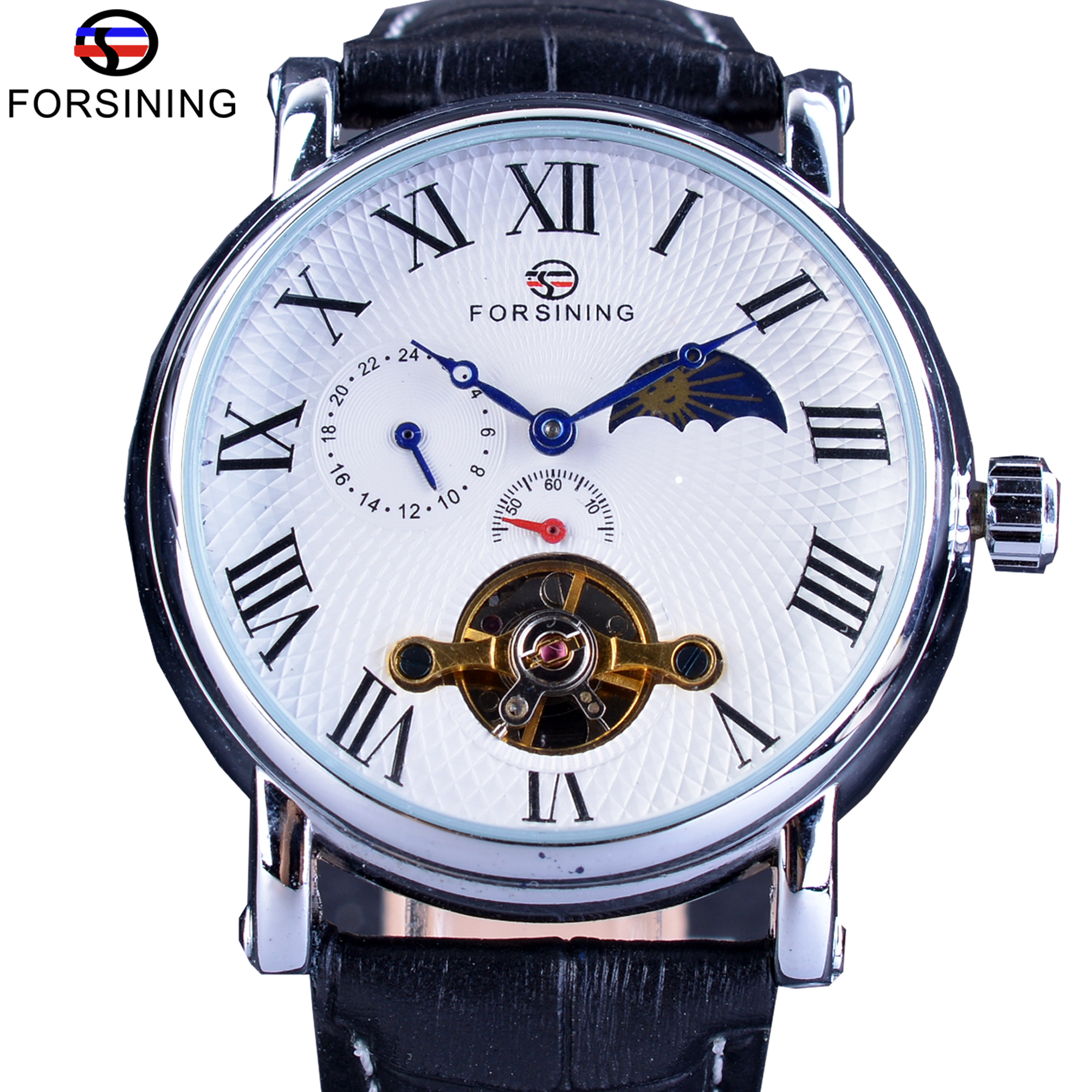 black forsining in watch mens mechanical wrist genuine for watches men item calendar clock leather fashionable display military from on