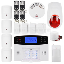 DIYSECUR LCD Wireless & Wired GSM SMS Home Security Alarm System + 4 Pet Friendly PIR + Wireless Flash Siren + Smoke Sensor