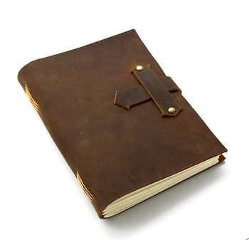 Junetree handmade Traveler\'s Note Book notebook brown Genuine Leather Cowhide leather diary vintage - Category 🛒 Office & School Supplies