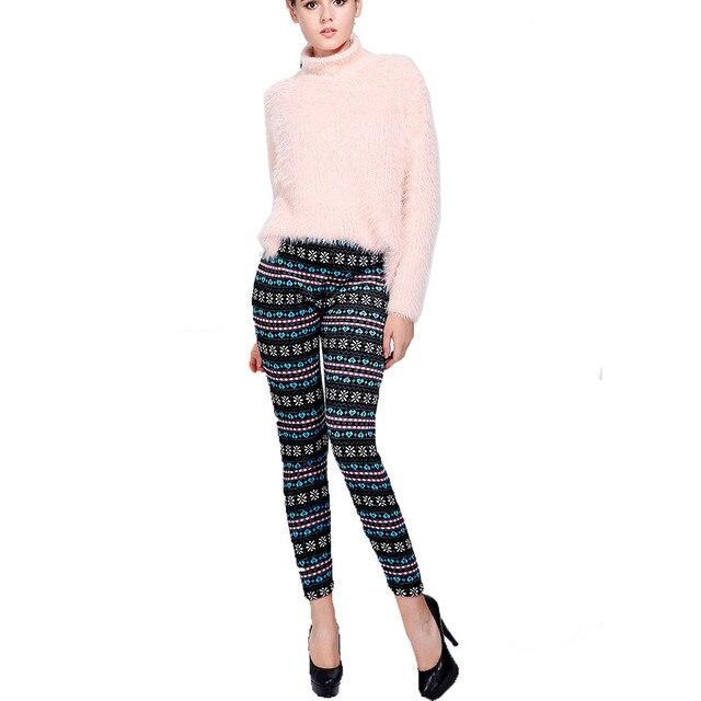 Autumn Winter New Leggings Womens Velvet Snowflake Christmas Deer Print Skinny Stretch Ethnic Style Trousers