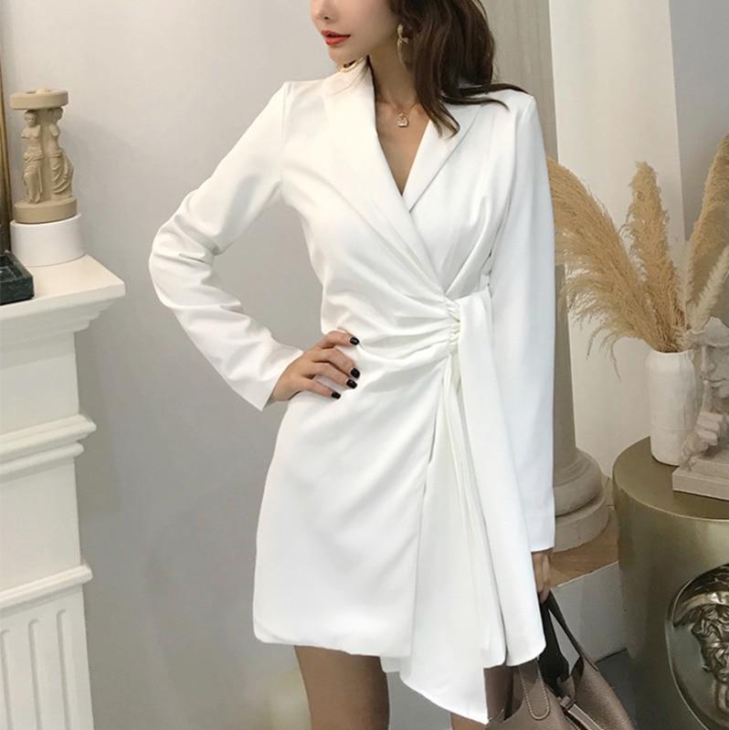 LANMREM 2020 new korean summer fashion women clothes vacation dresses turn down collar full sleeves asymmetrical mini dress WG69|Dresses| |  - title=