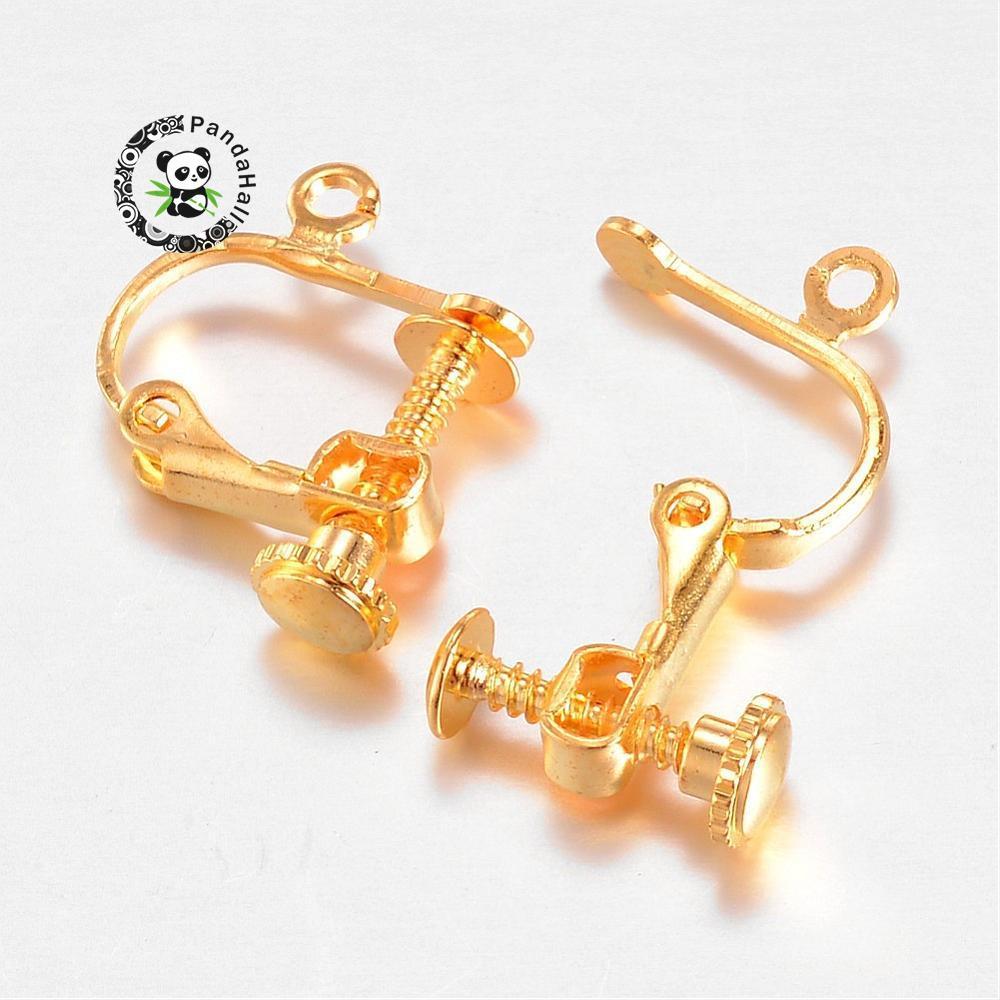 13.5x16.5x4mm 100pcs Brass Screw Clip Earring Converter, Golden, Hole: 1mm