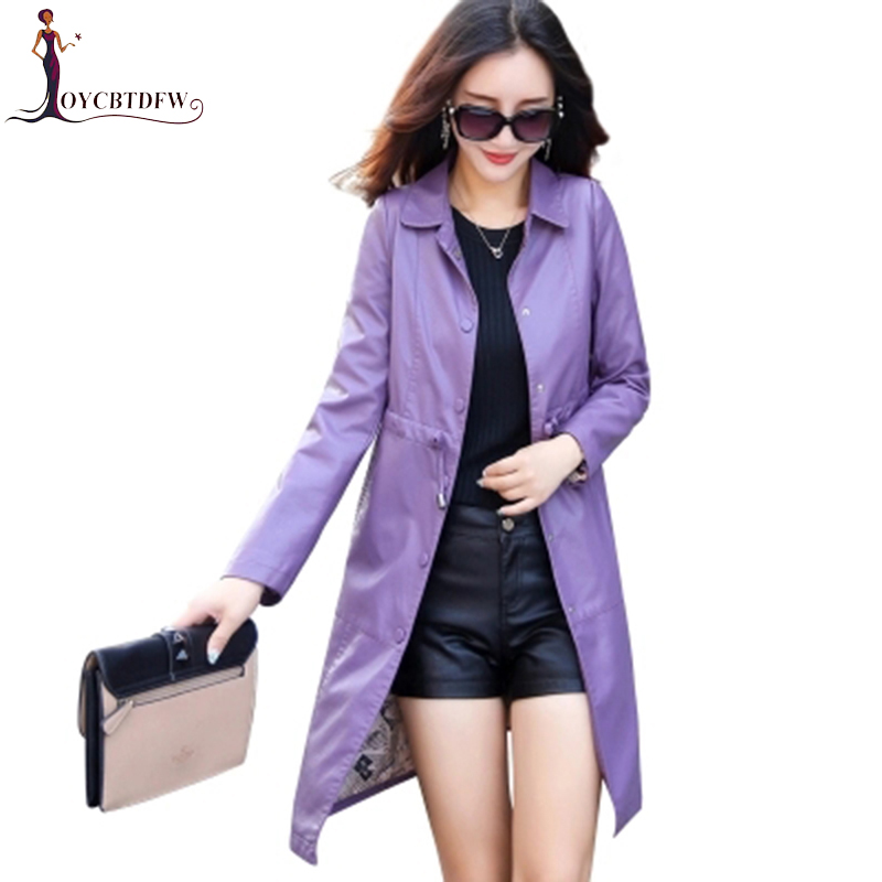 M 5XL Large Size Autumn Women Red Leather Coat 2018 Fashion High Quality Lapel Leather Clothing Female Long leather trench coat