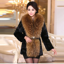 New 2016 Genuine luxury Rabbit Fur coat With Big Raccoon Fur Collar jacket Winter Outwear natural fur Overcoat Free Shipping