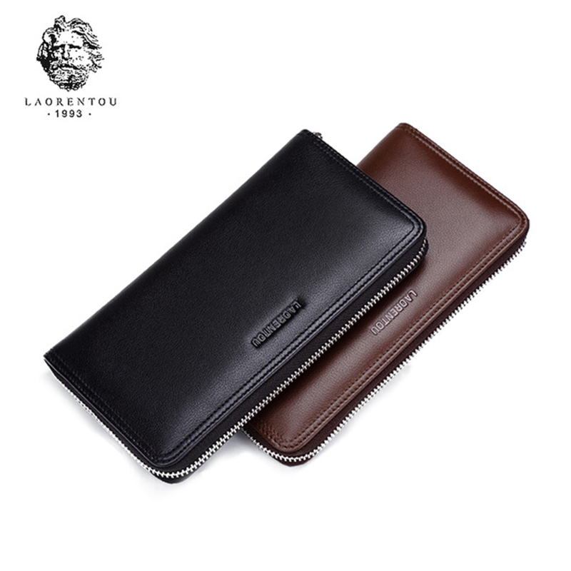 LAORENTOU Men Wallets Genuine Leather Large Capacity Zipper Wallet Men's Purse Classic Male Long Wallets Man Clutch Bag