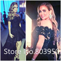 Elegant Robe De Soiree Black Lace High Low Evening Dress Sexy Off The Shoulder Arabic Designer Prom Gown Dress Abendkleider 2017
