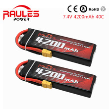 2016 Hot sell Rechargeable VOK 7.4V 4200mAh 2S 40C Lipo Helicopter Battery 6S for RC Control Li-poly Batteries Deans 2PCS