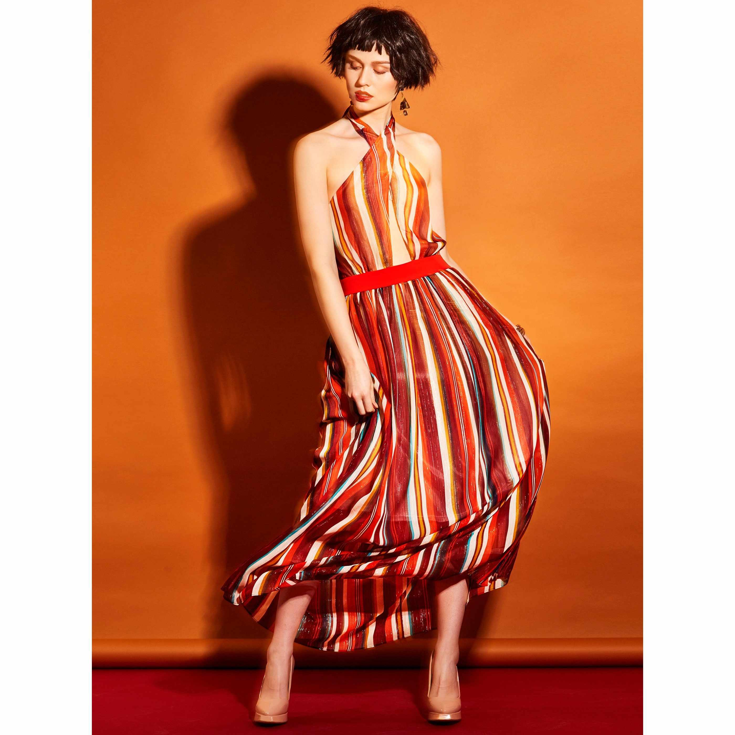 0ee2cbcc6f7 Detail Feedback Questions about Women maxi dress colorful strips halter  Sleeveless Elegant Casual Sexy Backless Long Dress female 2019 Summer  vestidos on ...