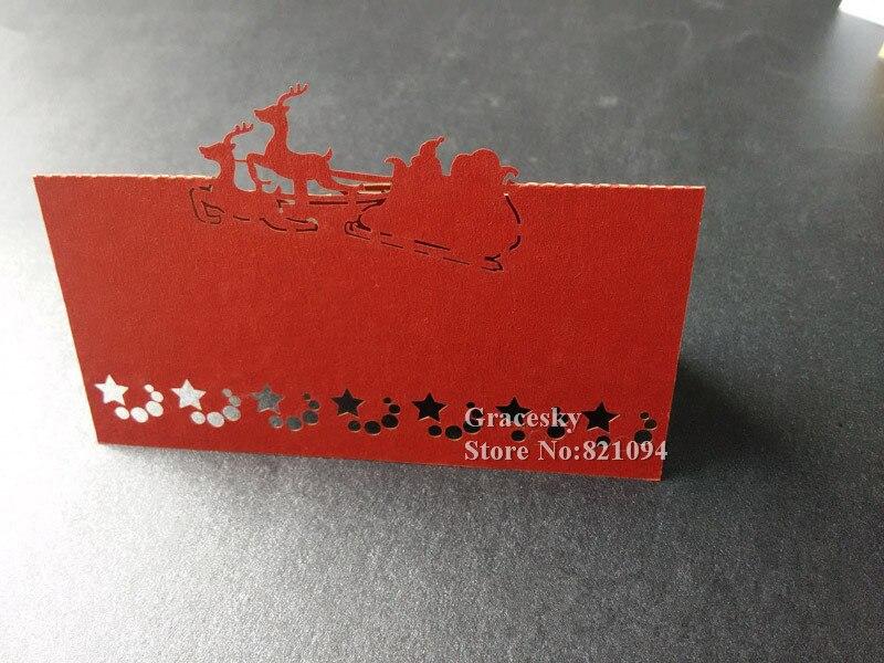 Goed 50 Stks/partij Gratis Verzending Laser Gestanst Sleigh Met Herten Ontwerp Kerst Uitnodiging Tafel Naamkaartjes Voor Partij Woondecoratie Zonden En Botten Versterken