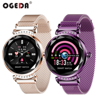 2019 Newest Fashion H2 Smart Watch Women 3D Diamond Glass Heart Rate Blood Pressure Sleep Monitor Bracelet Best Gift Smartwatch