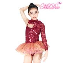349d39efc7 MiDee One-Manga Moderno Ballet Dança Collant Vestido Tutu Trajes Para  Meninas Competição Desempenho Trajes de Dança Jazz   Tap