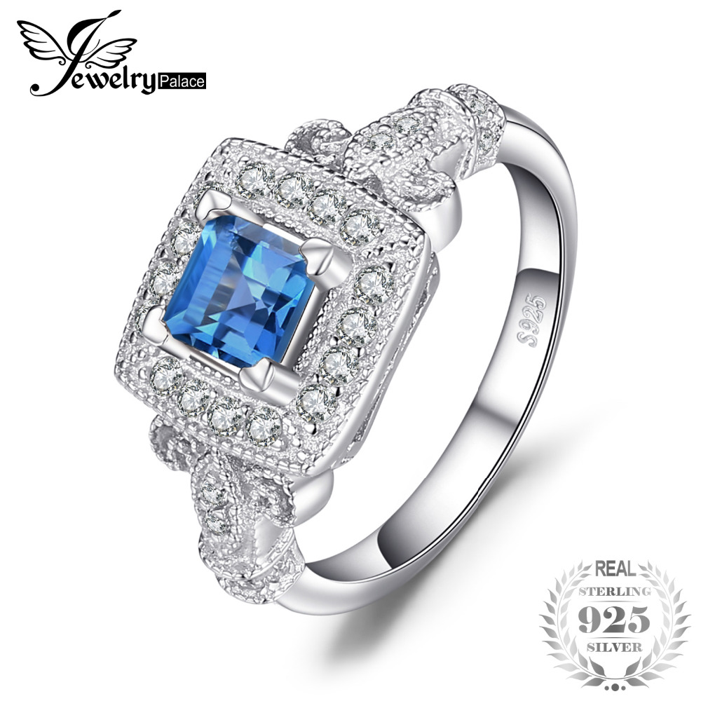цены JewelryPalace Carved 1ct Genuine London Blue Topaz Cocktail Ring 925 Sterling Silver Ring for WomenJewelry Elegant Gift