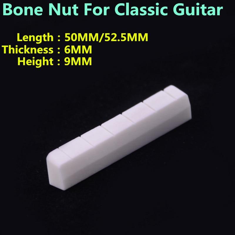 1 Piece  GuitarFamily Real Slotted  Bone Nut For Classical Guitar   50MM / 52.5MM * 6MM * 9MM sews classical guitar bone slotted saddle nut set