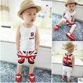 Новые Летние Дети мальчик комплект одежды Жилет рубашка + Короткие штаны Англия флаг Печати Baby дети мальчика одежды наборы