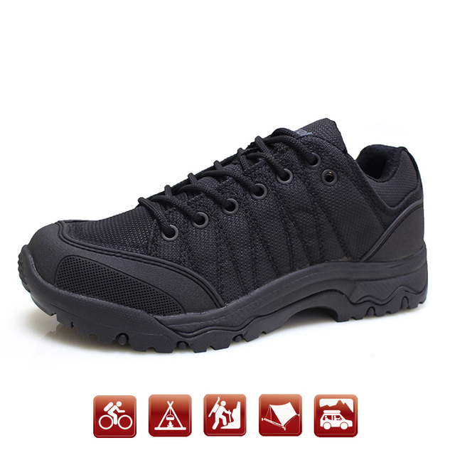 Outdoor Women's waterproof shoes non-slip wear rubber hiking shoes Sports Walking military police shoes for man