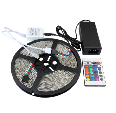 RGB Led Strips 5M 300 Leds SMD 5050 RGB lights led strips 60 leds/M 24Key IR Remote Controller 12V 5A power supply - 4