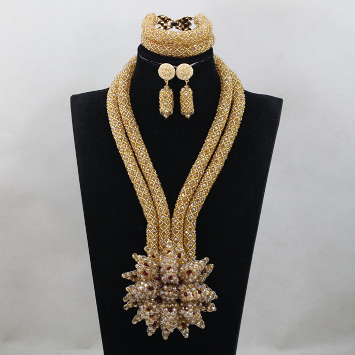 Champagne Gold Crystal Bridal Women Jewelry Set African Beads Jewelry Necklace Set  QW1206Champagne Gold Crystal Bridal Women Jewelry Set African Beads Jewelry Necklace Set  QW1206
