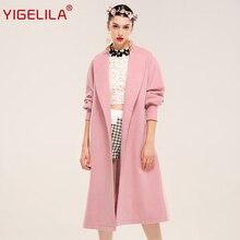YIGELILA 9489 Latest New Women Vintage Lantern Sleeve Slim Solid Pink Long Wool Coat