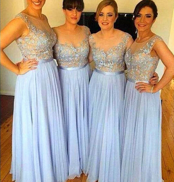 a line 2015 pleat sheer scoop prom wedding dresses bridesmaid formal dresses wear floor length