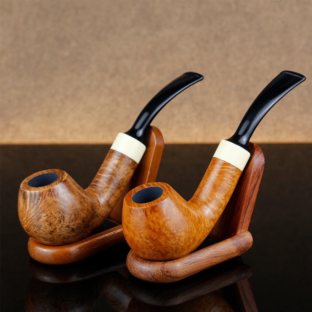 Nouveau déplané bouche bois pot-de-vin outils gratuits ensemble cadeau Pipe à tabac fumer tuyau grand anneau blanc 9mm filtre plié Briar tuyau ensemble