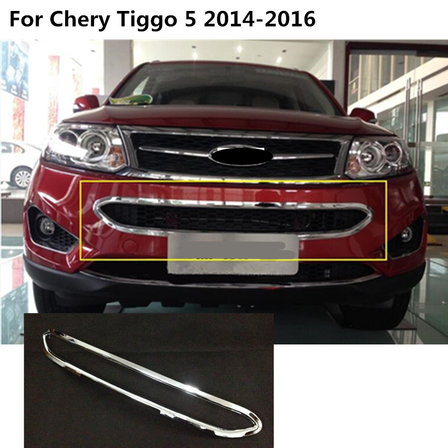 Car body cover protection ABS chrome trim Front bottom Grid Grill Grille molding hoods For Chery Tiggo 5 Tiggo5 2014 2015 2016 for toyota corolla altis 2014 2015 2016 car body styling cover detector abs chrome trim front up grid grill grille hoods 1pcs