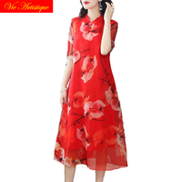 floral silk qipao summer dress robe femme ete 2018 plus size women cheongsam bohemian dresses long sexy boho loose red party