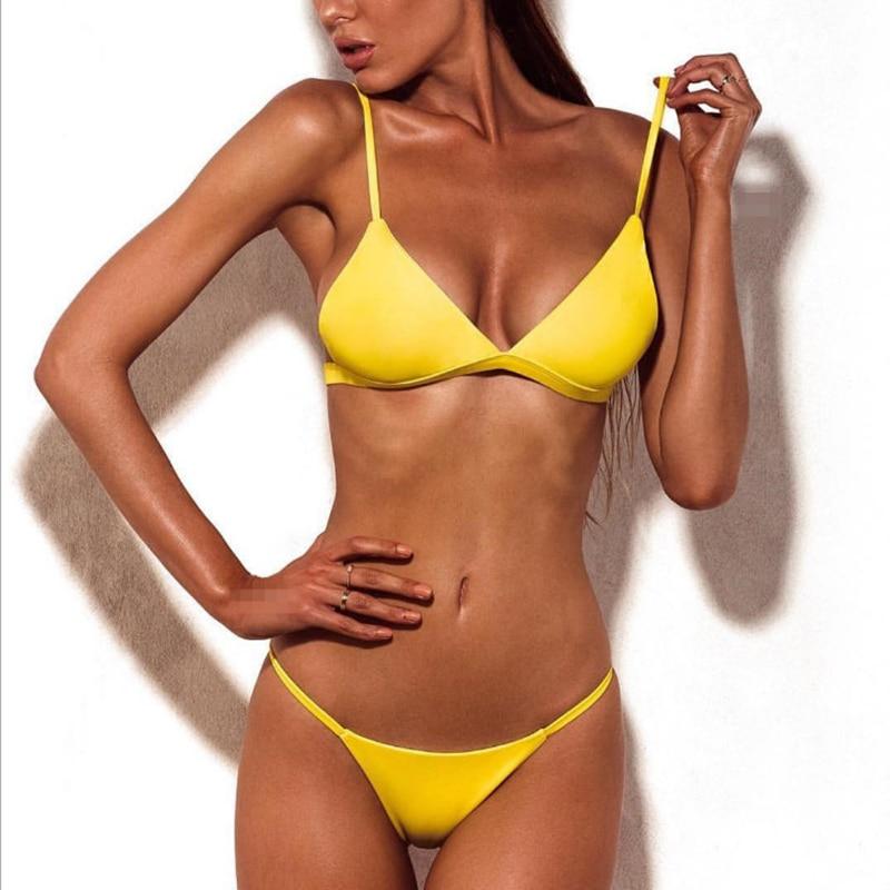 2019 Women Bikini Sexy Swimwear Sports Swimsuit Brazilian Micro Bikinis Women Bikini Deep Monokini Push Up Bandage Beachwear Red