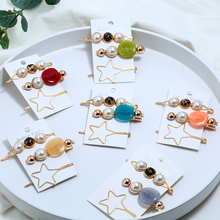 Bohopan 3PCS/Set High Quality Alloy Hair Clips Set Simple Star Pins For Women Solid Color Natural Stone Female Headwear