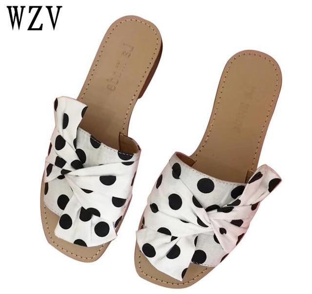 f006cf4989c92 New Summer 2018 Women Sandals flat slippers Flip Flops Open Toe Slides  Female Fashion Black white Dot pattern Sandals woman