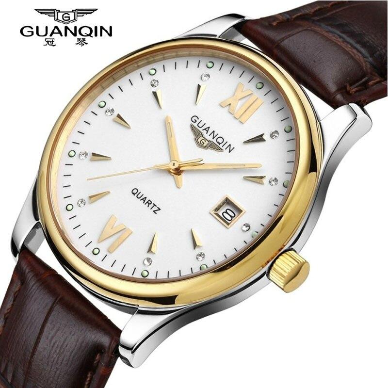 где купить Men Watches 2016 GUANQIN Top Brand Luxury Quartz Watch Men Ultra-thin Waterproof Leather Casual Wristwatches Relogio Masculino по лучшей цене