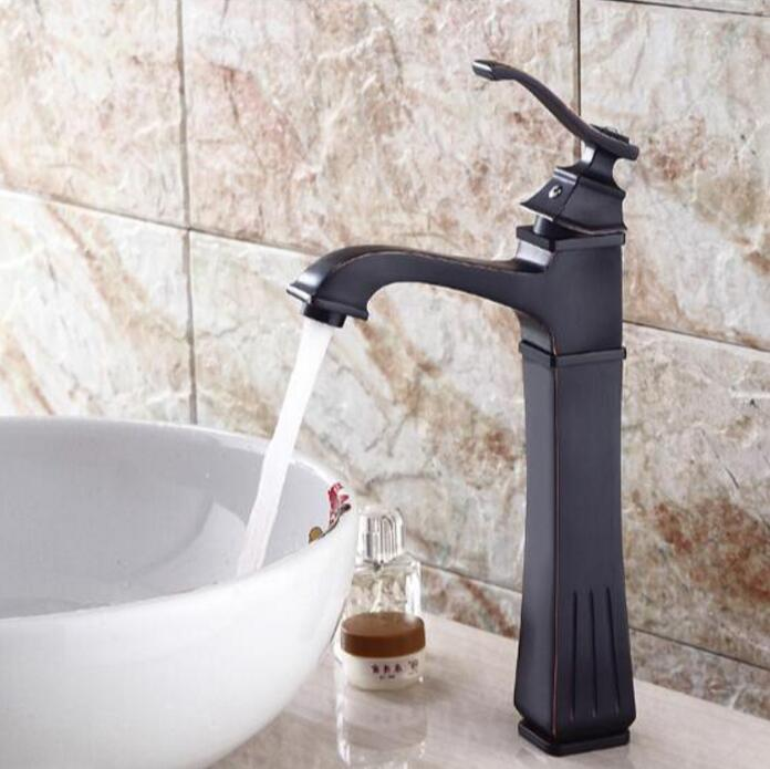 New Arrival Antique Faucet Black Brass Bathroom Basin Faucet Sink tap Tall Vanity Sink f ...