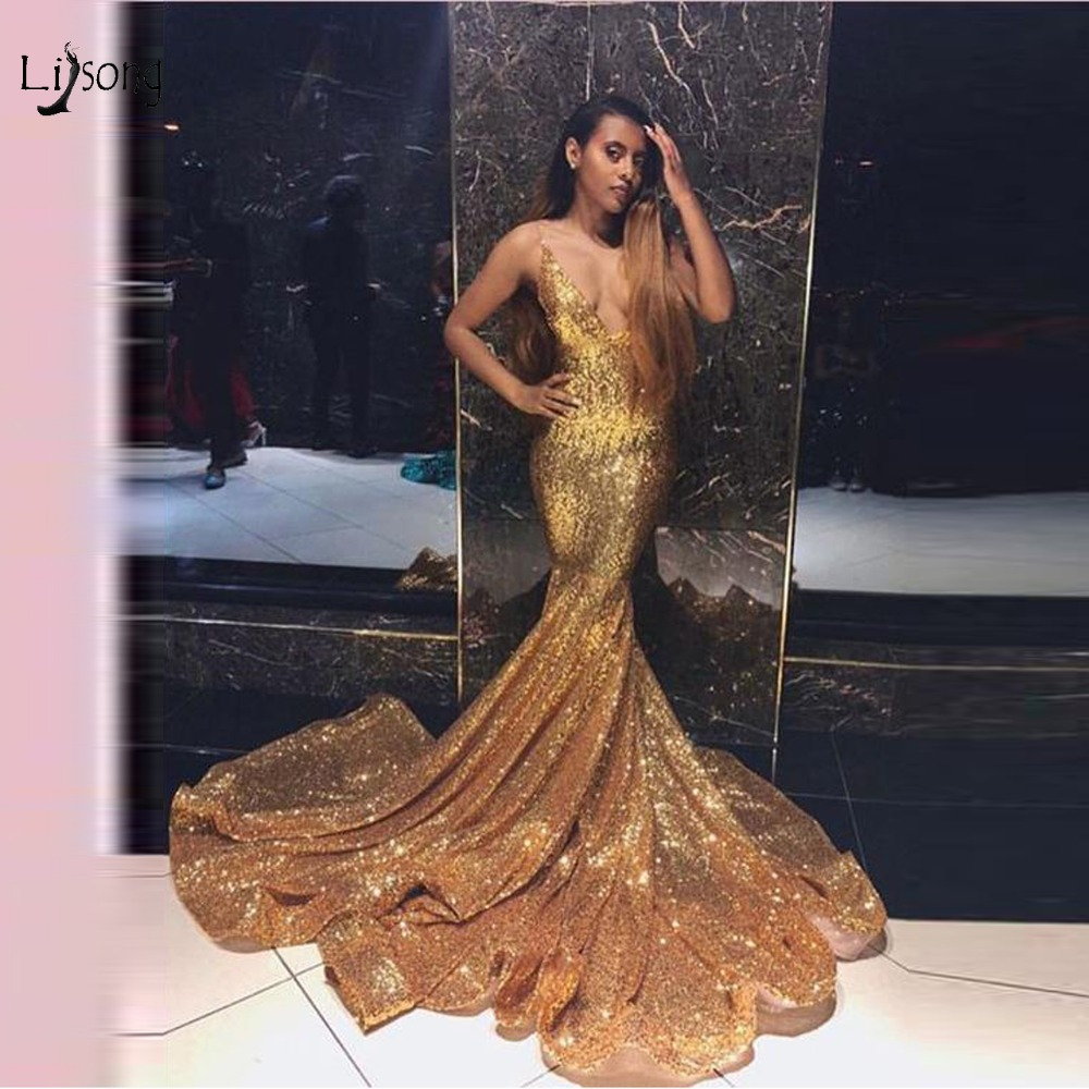 Sexy Sparkle Gold Sequined Mermaid Prom Dresses 2019 Deep V neck Backless Long Prom Gowns Elastic