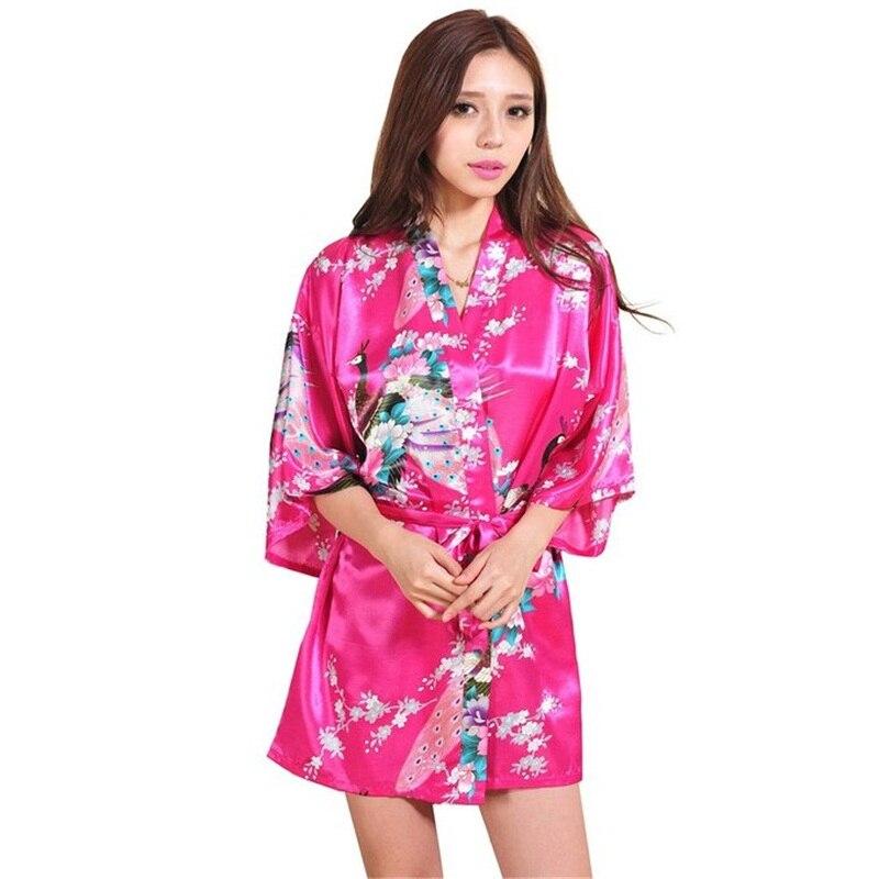 3e7288b445 New Hot Pink Sexy Mini Lady Summer Bath Robe Gown Silk Rayon Kimono Yukata  Dress Flower Nightwear Size S M L XL XXL XXXL A012-in Robes from Women s  Clothing ...