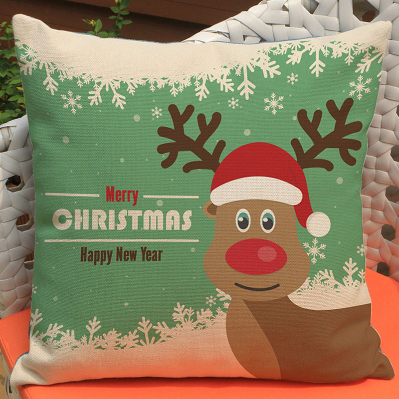Christmas new home Creative decoration gifts cute pillow selling cotton linen printing home sofa hotel bedside car cushion 45*45