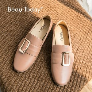 Beau Today Genuine Leather Loafers Women Metal Buckle Slip On Round Toe Flats for Ladies Dress Casual Shoes Handmade 27036
