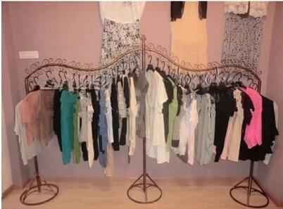 Island dress clothes hanger Black white bronze metallic clothing display shelf