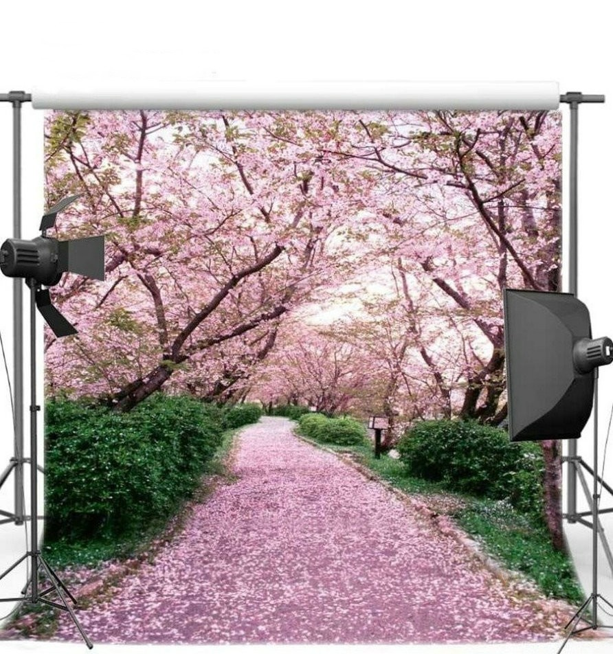 Cherry Blossom Tree Garden Theme Scene Road photo backdrop Vinyl cloth High quality Computer Print Pink wall Scenery background пуф dreambag круг cherry