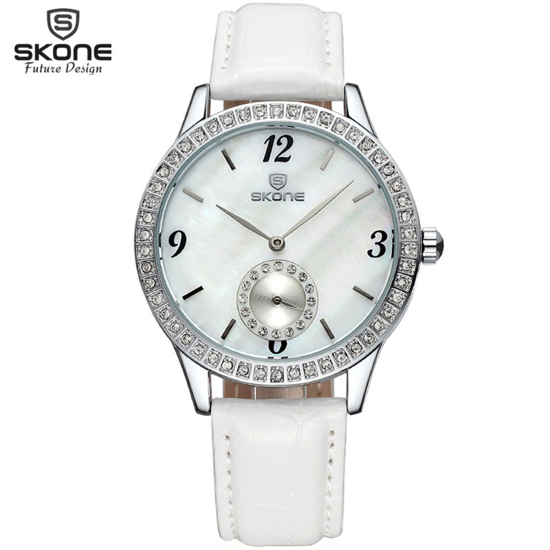 Skone Real Small Seconds Dial Hardlex Crystal Silver Case Women Watches Luxury Fashion Leather Strap Watch Time Relogio Feminino 2016 winner autoamtic mechanical men watches fashion classic silver case skeletondial real leather strap relogio feminino
