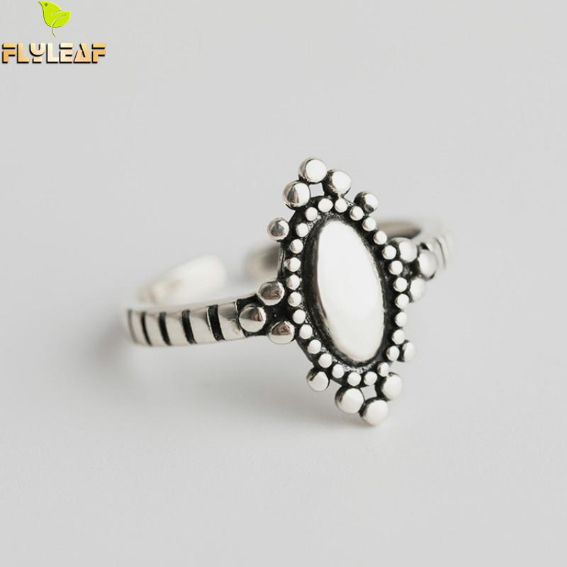 Flyleaf 925 Sterling Silver Rings For Women Oval Crown Personality Fashion Fine Jewelry Simple Open Ring Vintage High QualityFlyleaf 925 Sterling Silver Rings For Women Oval Crown Personality Fashion Fine Jewelry Simple Open Ring Vintage High Quality