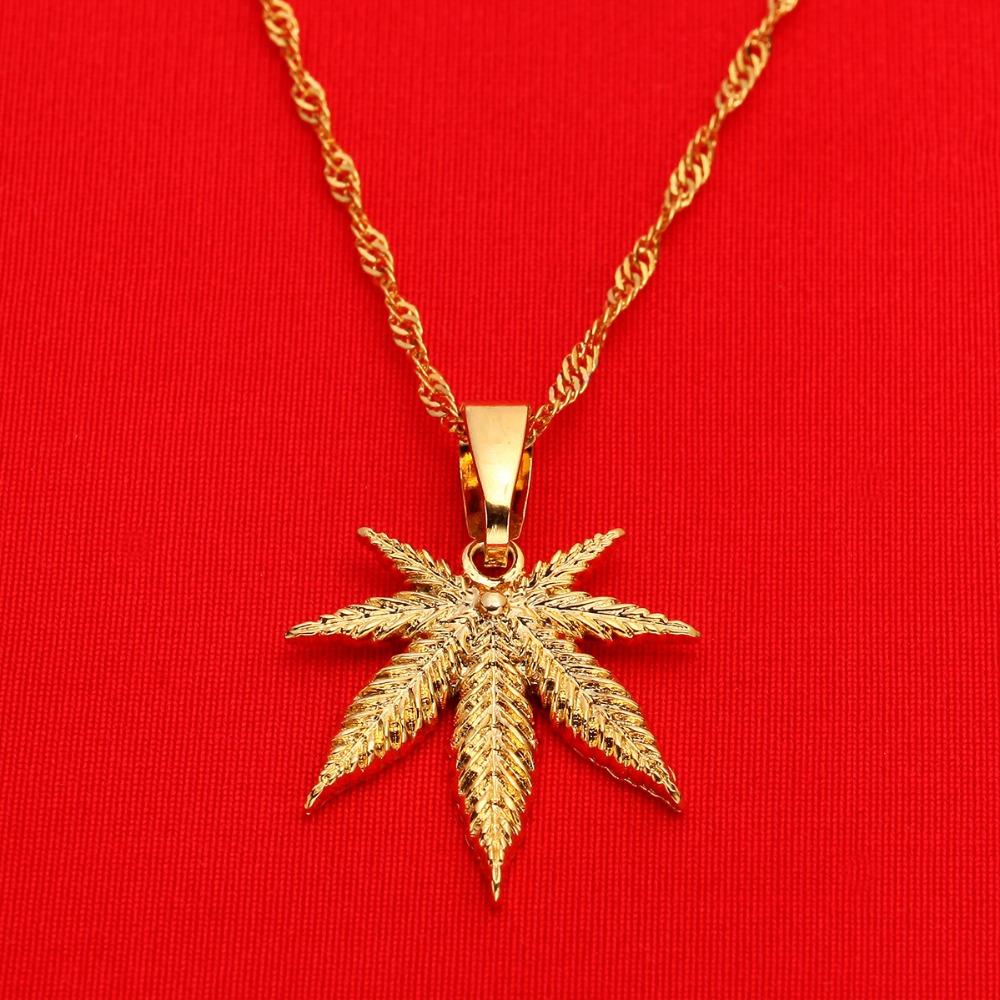 24K Yellow Gold Color Jewelry Cannabis Weed Marijuana Leaf Pendant Necklace image